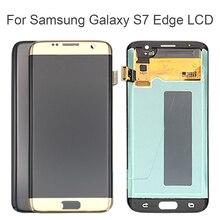 لسامسونج غالاكسي S7 حافة LCD عرض G935 G935F شاشة تعمل باللمس محول الأرقام الجمعية استبدال 100% اختبارها