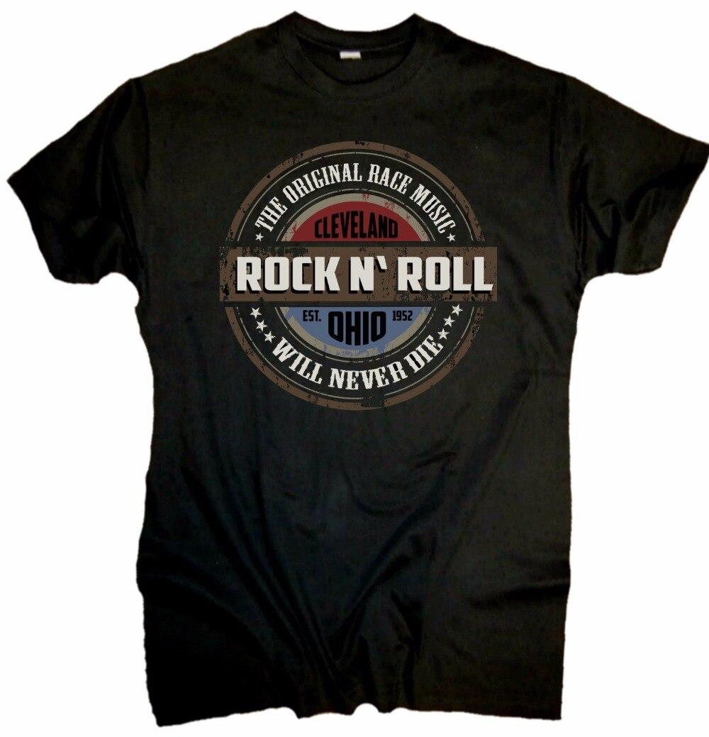 New Fashion Brand Men   T  -  shirt   Cotton Short Sleeve Rock N Roll Hot Rod Chopper Custom Motorrad US Car   T     shirt