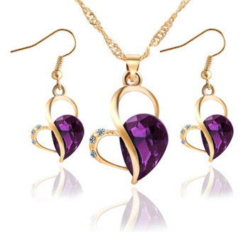 18K Gold Luxury Crystal Necklace/Earrings Jewelry Set