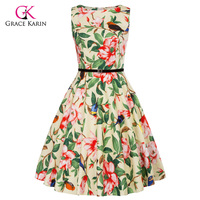 Grace Karin Short Cocktail Dress 2018 Bird Floral Print Robe Retro Vintage 50s Vestido Rockabilly Swing