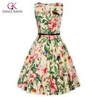 Grace Karin Short Cocktail Dress 2018 Bird Floral Print Robe Retro Vintage 50s Vestido Rockabilly Swing