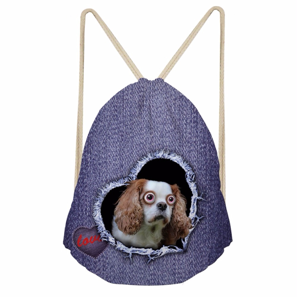 Noisydesigns Adorkable Cute Sweet  Dog  Drawstring Bag Travel Sport Bags Cinch Sackback Cool Boy Girls Small Backpack Soft