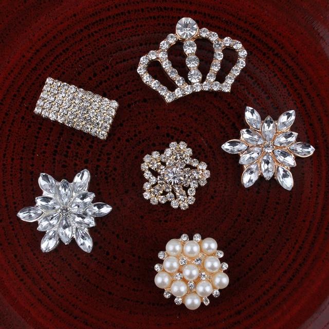 120PCS Vintage Handmade Crown Rhinestone Buttons Bling Flatback Crystal Pearl  Decorative Buttons Flower Center Craft Supplies 36abd469456c