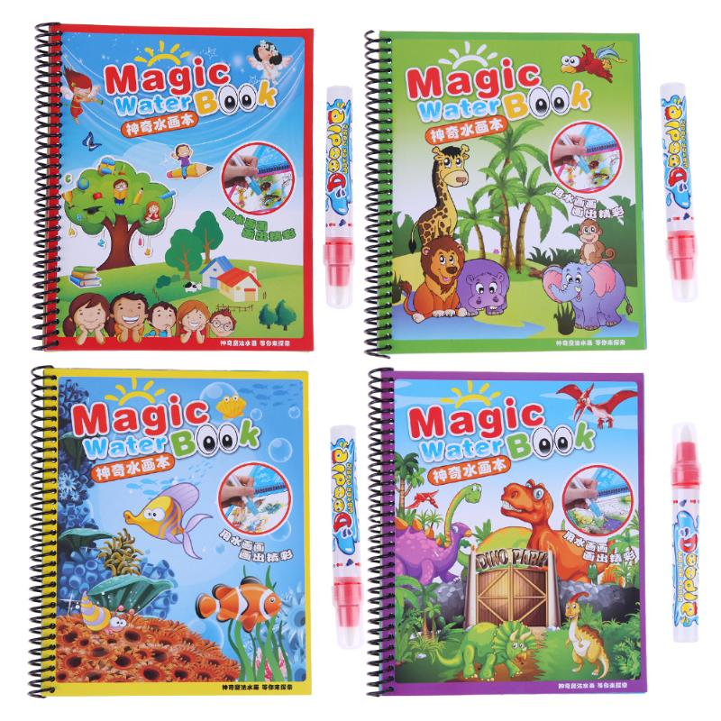 Magic Water Drawing Coloring Book with Pen for Baby Educational Toys Cartoon Drawing Painting Writing Doodle Cloth Drawing Board
