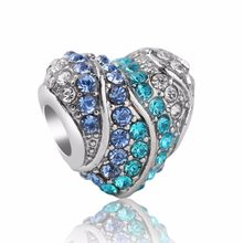 2018 New Spring plated silver blue CZ Aqua Heart Charm Fit European charm bead bracelet bangle DIY jewellery(China)