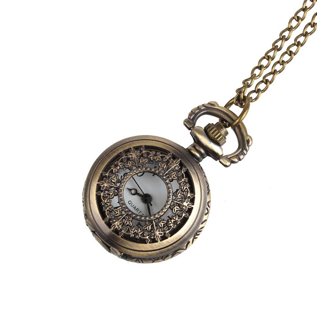 Hollow leaves small pocket watch with chain Retro Leaves Vintage Style Pocket Wa