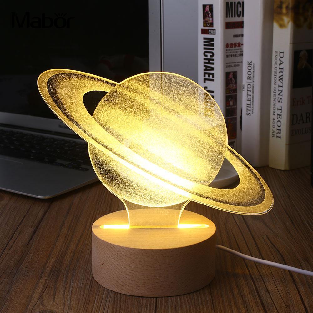 Decorative 3D Night Light Modeling Lamp Glow Saturn Design LED Light ...