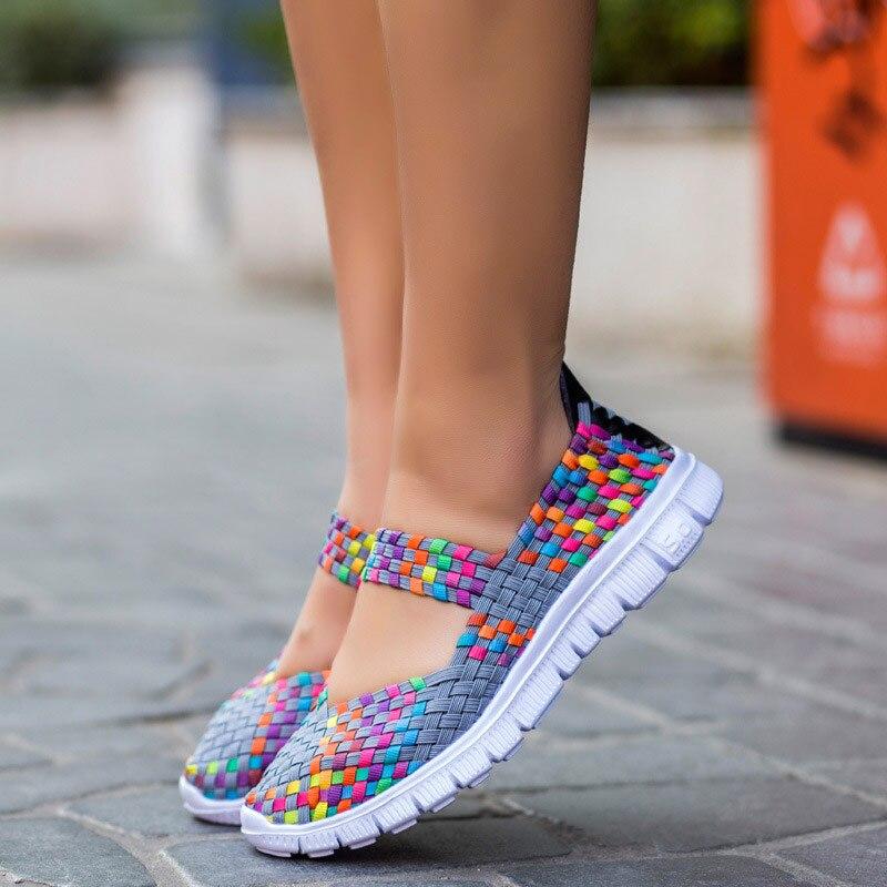 Tênis femininos 2019 nova moda respirável tecelagem sapatos casuais mulher confortável apartamentos tênis femininos zapatos de mujer