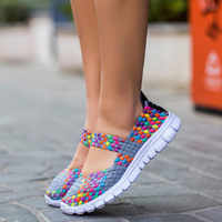 Women sneakers 2019 new fashion breathable weaving casual shoes woman comfortable flats sneakers women shoes zapatos de mujer