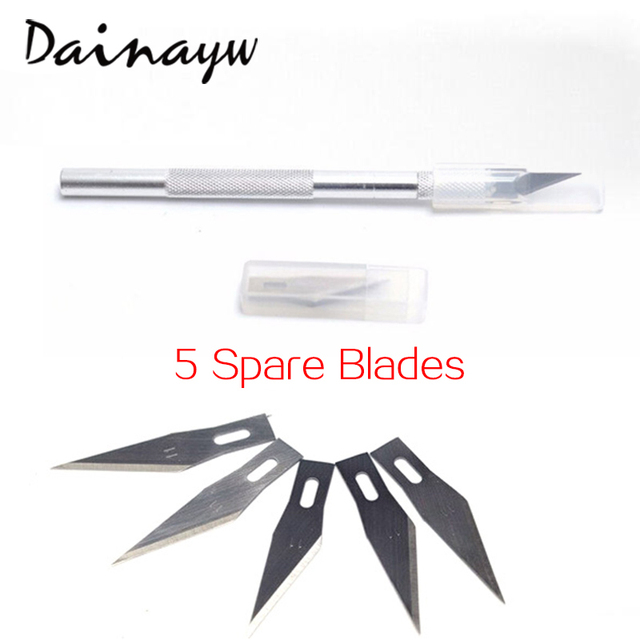 Dainayw Non-Slip Metal Utility Knife Wood Carving Tools 6 BladesCraft Sculpture Engraving For Stationery Art Supplies