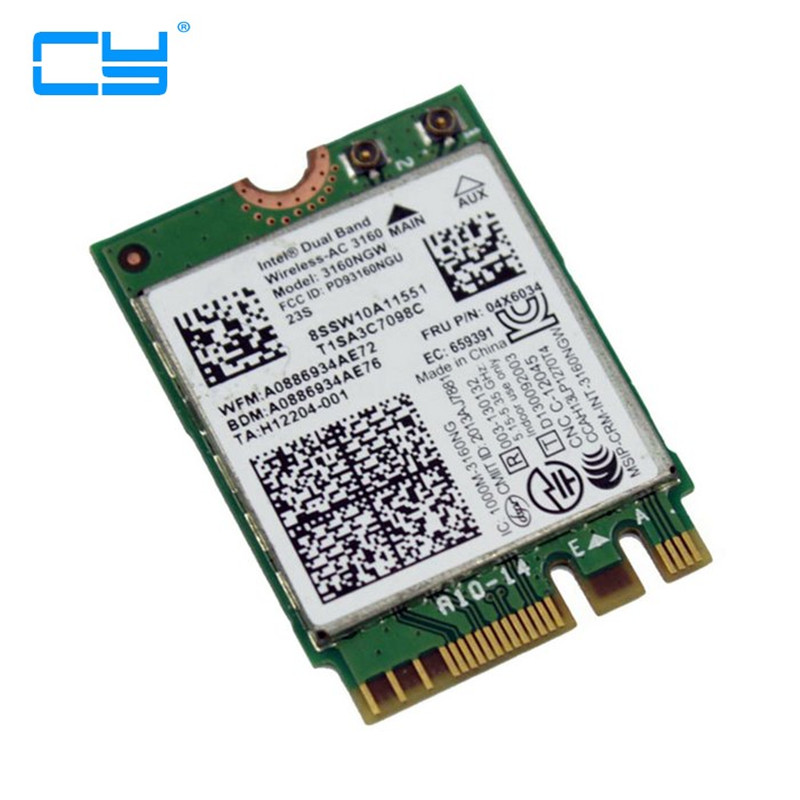 Intel 802.11AC AC3160 3160NGW NGFF PCI e M.2 2.4G 5G 433M Hotspot WIFI Wireless & Bluetooth 4.0 Card for Laptop,Free Shipping brand new for intel 7265ngw bn wireless n 7265 ngff wireless wifi card laptop network wlan adapter fru 04x6032 for ibm lenovo