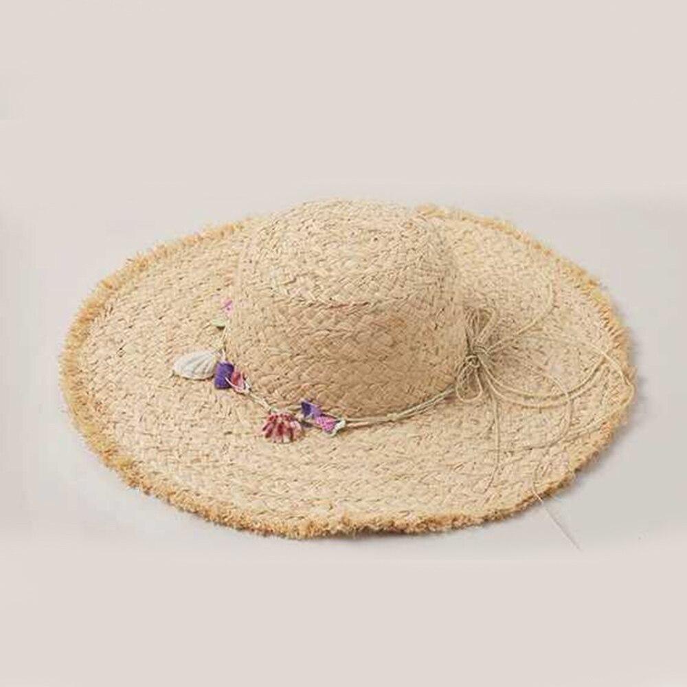 New Fashion Sun Hat Women Cap Sunscreen Hat Raffia Hat Ribbon Bow Flower Wide Side Foldable Holiday Beach Hat Mujer Handmade