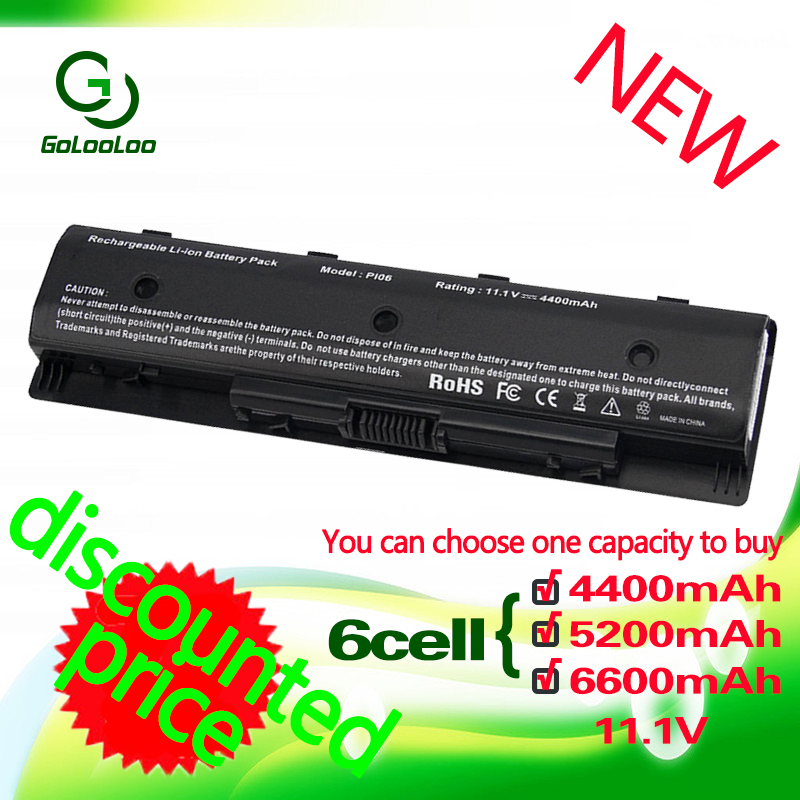 Golooloo 6 cells  Battery for Envy 14 15 17 HP PI06 P106 PI09 HSTNN-LB4N HSTNN-YB4N HSTNN-LB4O HSTNN-YB4O HSTNN-UB4N 710416-001