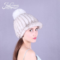 Joolscana women hat real fur hat mink knitted beanies spring autumn winter cap with fox fur pompom 2018 hot top fashion