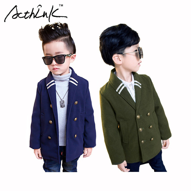 ActhInK Boys Preppy Double-Breasted Woolen Coat Brand School Boys Solid Cotton Blazer Jacket Kids Korean Style Outwears , MC100