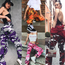 Orange Camouflage Pants Women Sweatpants Purple Pink Camo Pants Pantalon Femme Trousers Cargo Harem Pantalones Mujer
