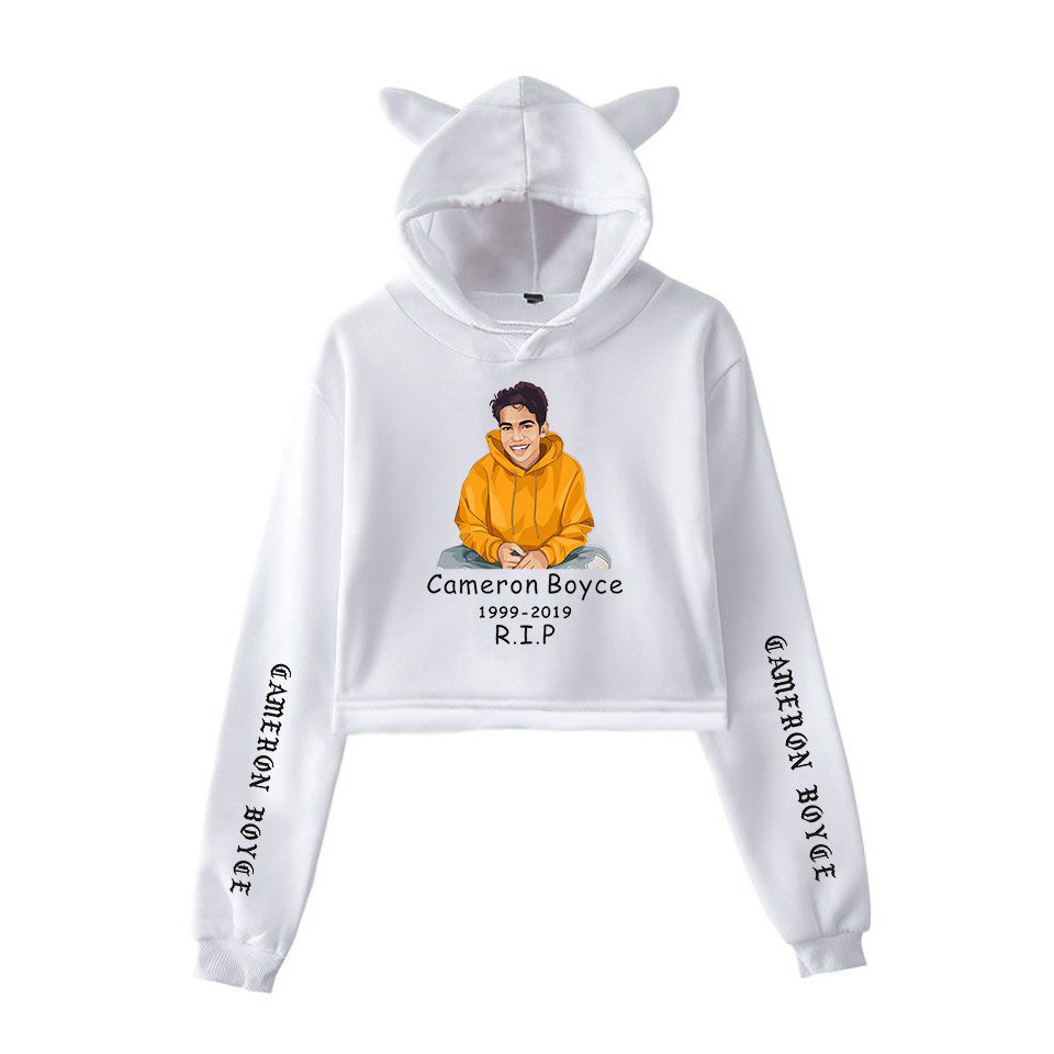 2019 R I P Cameron Boyce Masterpiece Descendants 2D print fashion trend sala Cat Crop Top Women Hoodies Sweatshirt Sexy clothes in Hoodies amp Sweatshirts from Women 39 s Clothing
