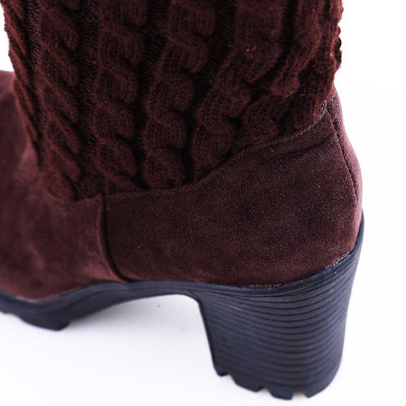 Mode Vrouwen Laarzen Knie Hoge Elastische Slanke Herfst Winter Warme Lange Dij Hoge Gebreide Laarzen Vrouw Schoenen OR935432