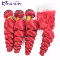 Beaudiva Pre Colored RED Loose Wave Human Hair Weave Bundles with Lace Closure Remy Hair Extensions free shipping