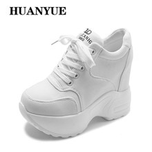 цены 2018 Breathable Mesh Sneakers Hidden Increasing Shoes Autumn Women Wedge Casual Shoes Lace-Up High Heels 10 CM Platform Shoes