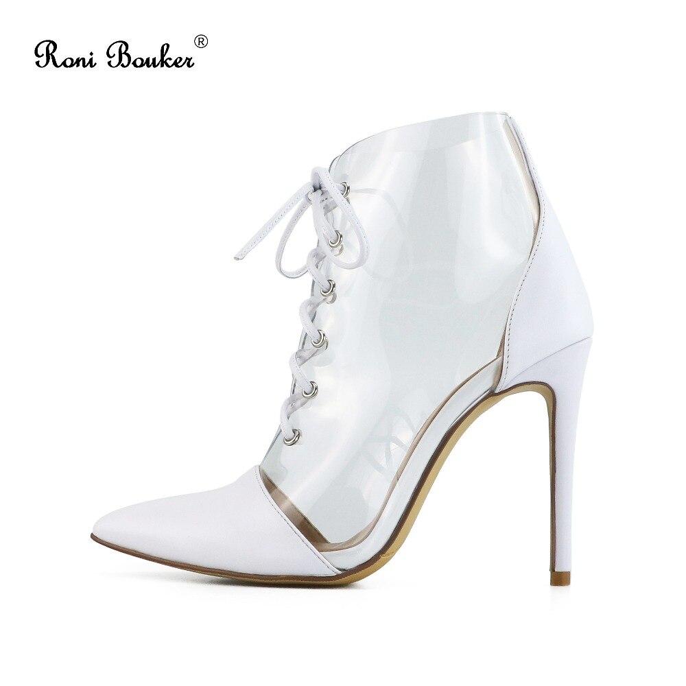 Roni Mode Chaussures Printemps À Talons Pvc Black Pour white Soirée Bout Chaussons 2019 Pointu Femme Lacets De Bouker Femmes Bottes Hauts Transparent Cheville dxBCoe