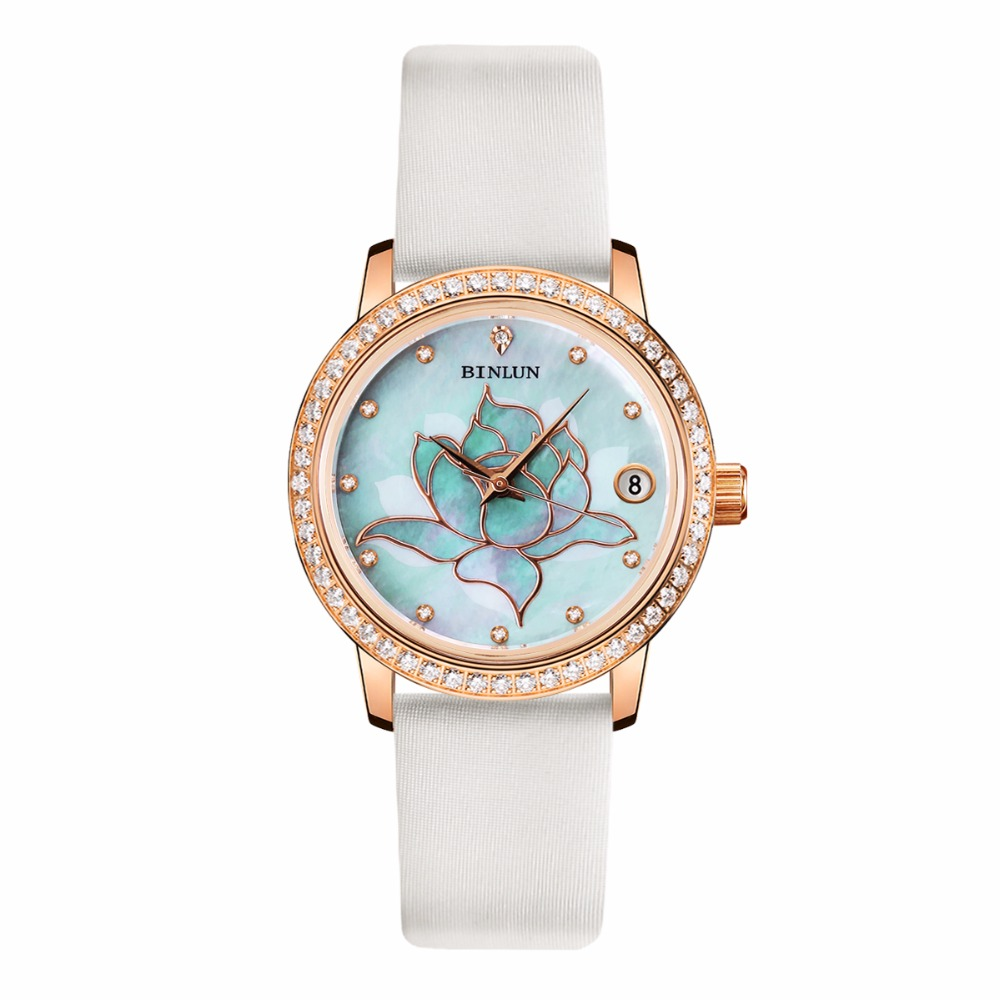 BINLUN Rose Gold Ladies Automatic Mechanical font b Watch b font Waterproof Diamonds Luxury Wrist font