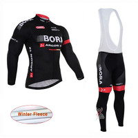 Cycling Jersey Long Sleeve Bib Pant Set Cycle Clothing BORA Pro Team Winter Thermal Fleece Maillot