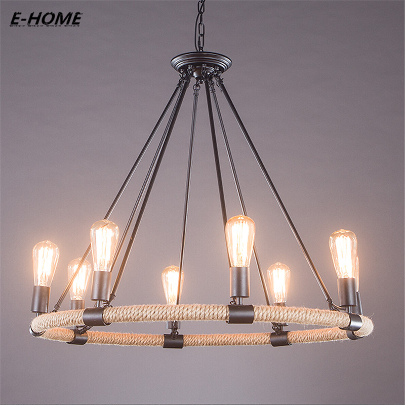 Creative personality retro bar cafe living room restaurant industrial wind iron hemp rope chandelier стоимость