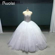 Gorgeous Robe de Mariage 2017 Dubai Style Sweetheart Ball Gown Puffy Wedding Dresses with Crystal Applique Tulle Bridal Gown WS2