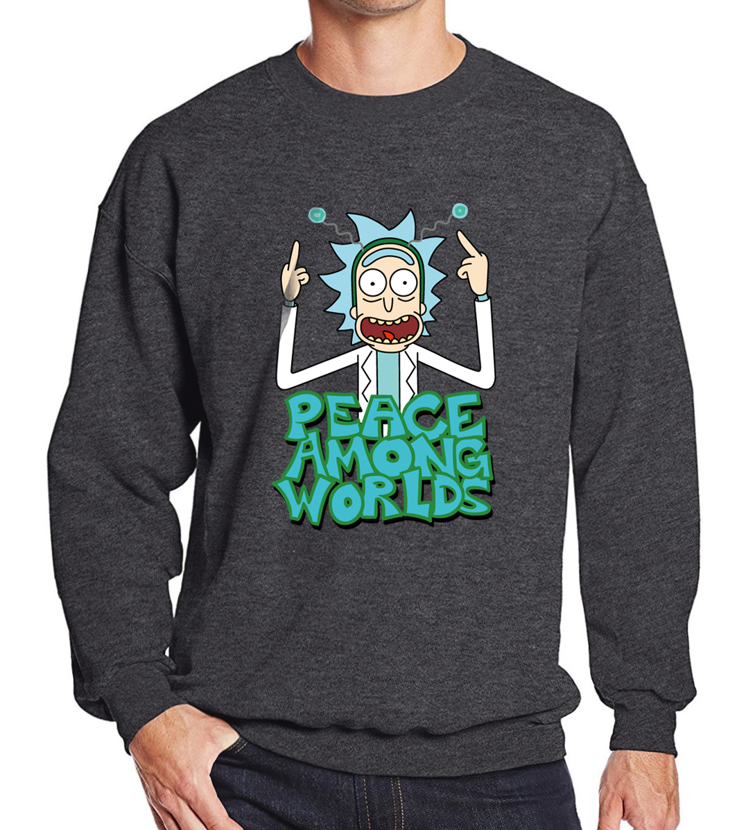 PEACE AMONG WORLDS Print Casual Hoodies 2019 Spring New Hot Sweatshirt For Men Harajuku Pullovers Hip Hop RICK AND MORTY Hoody