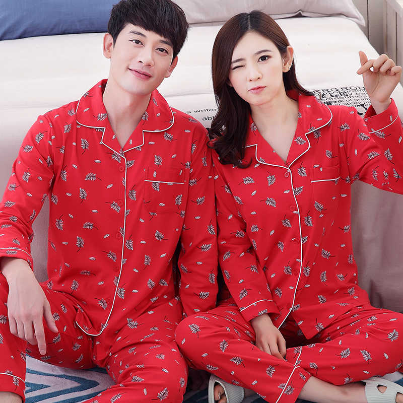 ... Пара Пижама из 100% хлопка красные пижамы Весна и осень обувь для  мужчин и женщин ... 78b5638baec42