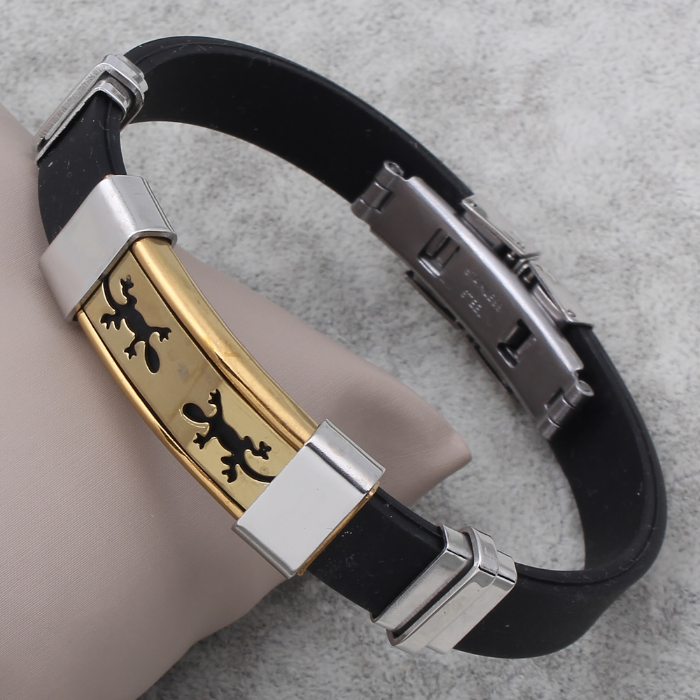 Men bracelets & bangles Silicone with Stainless Steel bracelets black gecko Simple Gothic Punk Rock bijoux homme best gift