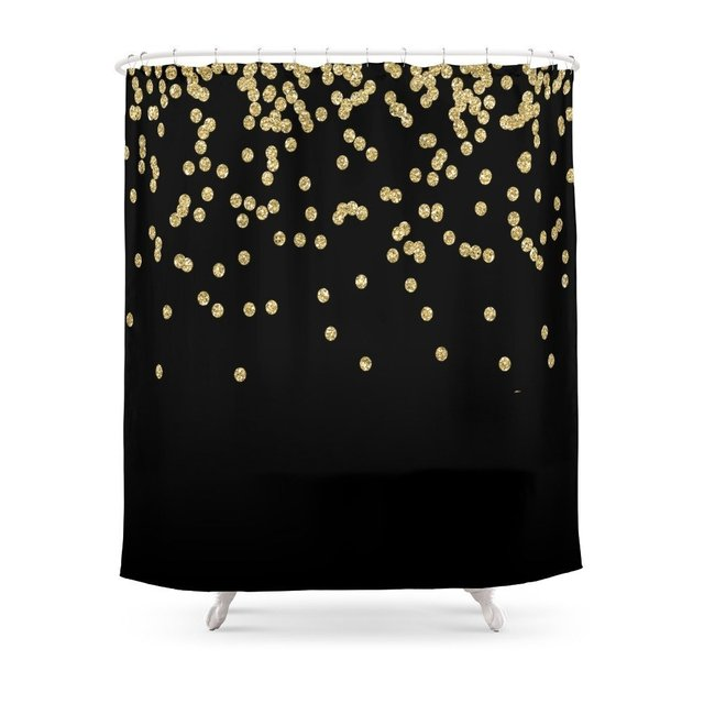 Sparkling Gold Glitter Confetti On Black Luxury Design Shower Curtain Polyester Fabric Bathroom Home Waterproof Curtains