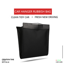E-FOUR Car Rubbish Bag Back Seat Clip Hanging Trash Storage Organizer Fiber Leather Waterproof Magnet Stick