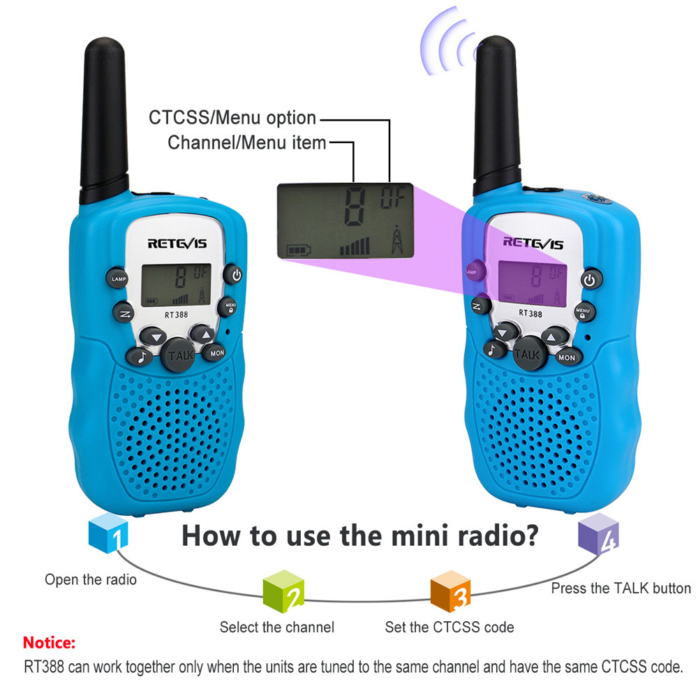 Image 3 - 2pcs RETEVIS RT388 Kids Walkie Talkie Mini Two way Radio Christmas Gift PMR PMR446 FRS VOX Flashlight 2 Way Radio Children Toys-in Walkie Talkie from Cellphones & Telecommunications