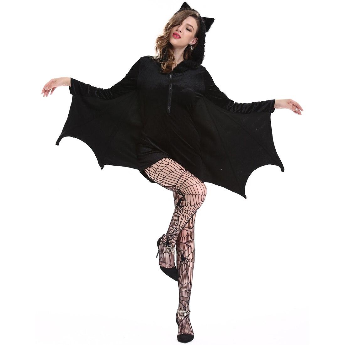 Halloween Cosplay Bat Costume Coat Creative Sexy Masquerade Vampire Uniform XXL/XL/L/M Size - Black