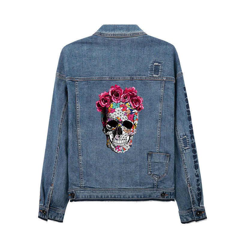 Череп цветок железа на заплатках для одежды летняя эмблема на ткани наклейки одежда джинсы моющиеся украшения теплопередачи Parches