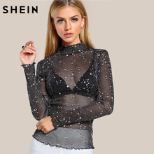 SHEIN Mock Neck Lettuce Hem Glitter Mesh Blouse Sexy Womens Long Sleeve Tops Black High Neck Elegant Slim Blouse