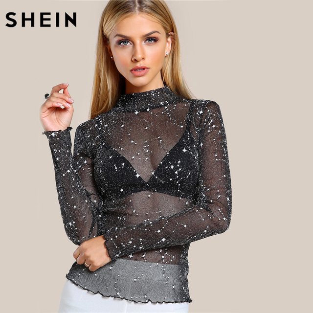 6d5ee209b0 SHEIN Mock Neck Lettuce Hem Glitter Mesh Blouse Sexy Womens Long Sleeve Tops  Black High Neck Elegant Slim Blouse