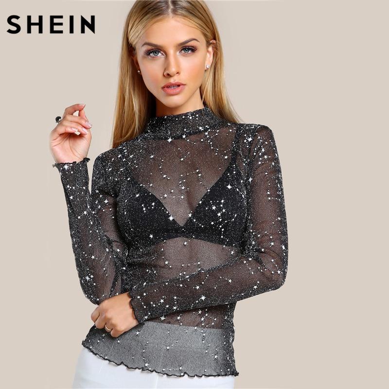 SHEIN Mock Neck Salat Rand Glitter Mesh Bluse Sexy Womens Langarmshirts Schwarz High Neck Elegante Schlank Bluse