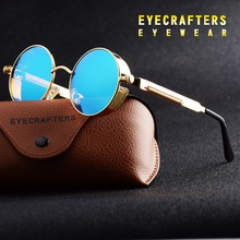 Gold Round Polarized Sunglasses Gothic Steampunk Sunglasses Mens Womens Fashion Retro Vintage Shield Glasses Eyewear Blue