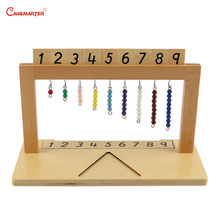 1-9 Numbers Hanger And Color Bead Stairs Preschool Children Teaching Aids Montessori Wood Beech Box Learning Math Toy MA106-3