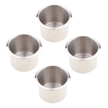 Pack of 4 Stainless Steel Poker Table Cup Holder Inserts For Car Boat Truck Marine - 68x55mm germany aaron flow cup viscometer stainless steel zahn 4 for printing