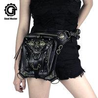Gothic Fanny Pack For Women Men Waist Bags Unisex Messenger Bag Retro Leather Shoulder Bags Rivet Travel Crossbody Punk Pochetes