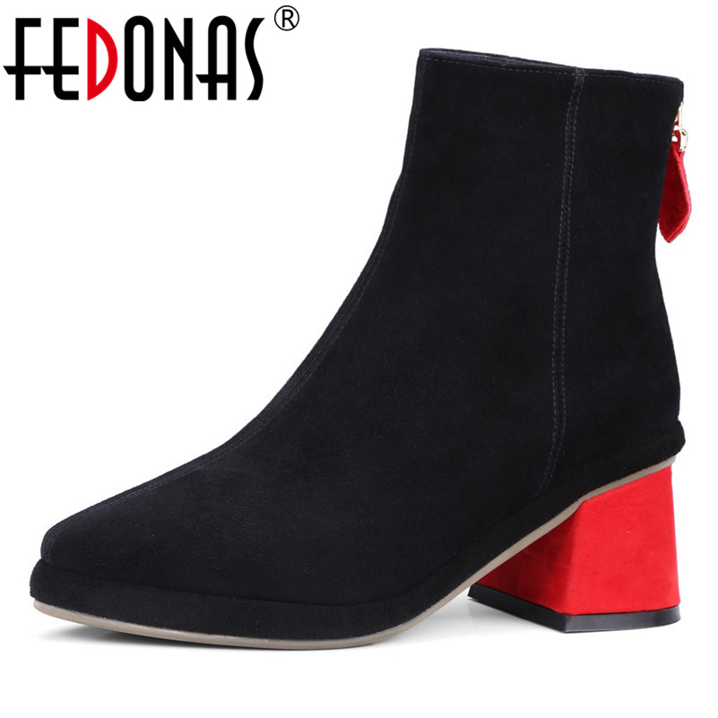 FEDONAS New Women Basic Ankle Boots Autumn Winter High Heels Ladies Shoes Woman Brand Elegant Genuine Leather Office PumpsFEDONAS New Women Basic Ankle Boots Autumn Winter High Heels Ladies Shoes Woman Brand Elegant Genuine Leather Office Pumps