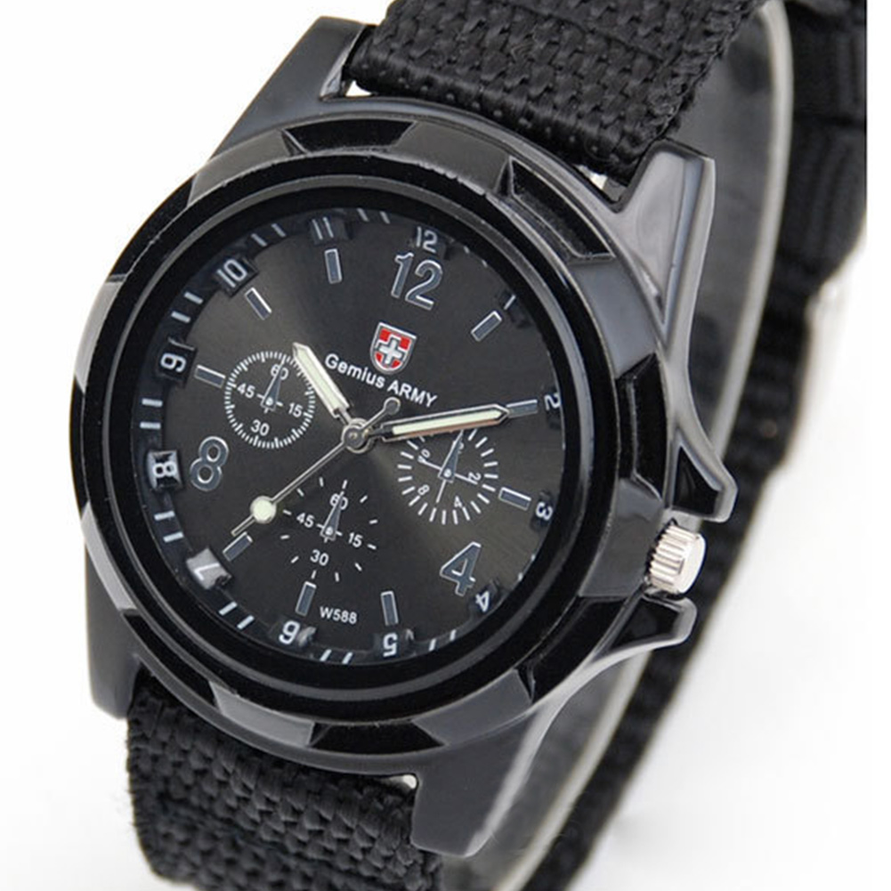 Men Casual Wristwatch Soldier Military Army Men 's Sport Style Canvas Belt Quartz Wrist Watch For Male