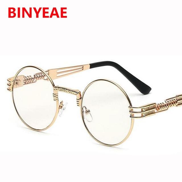 Steampunk gold glasses frames men Round Shades Brand Designer