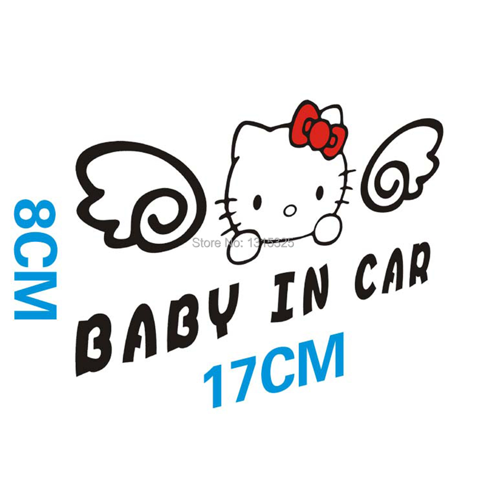 Aliauto Hello Kitty Baby in Car Stickers Warning Decal for Toyota Ford Chevrolet cruze Vw skoda Honda Hyundai Kia Lada golf 6