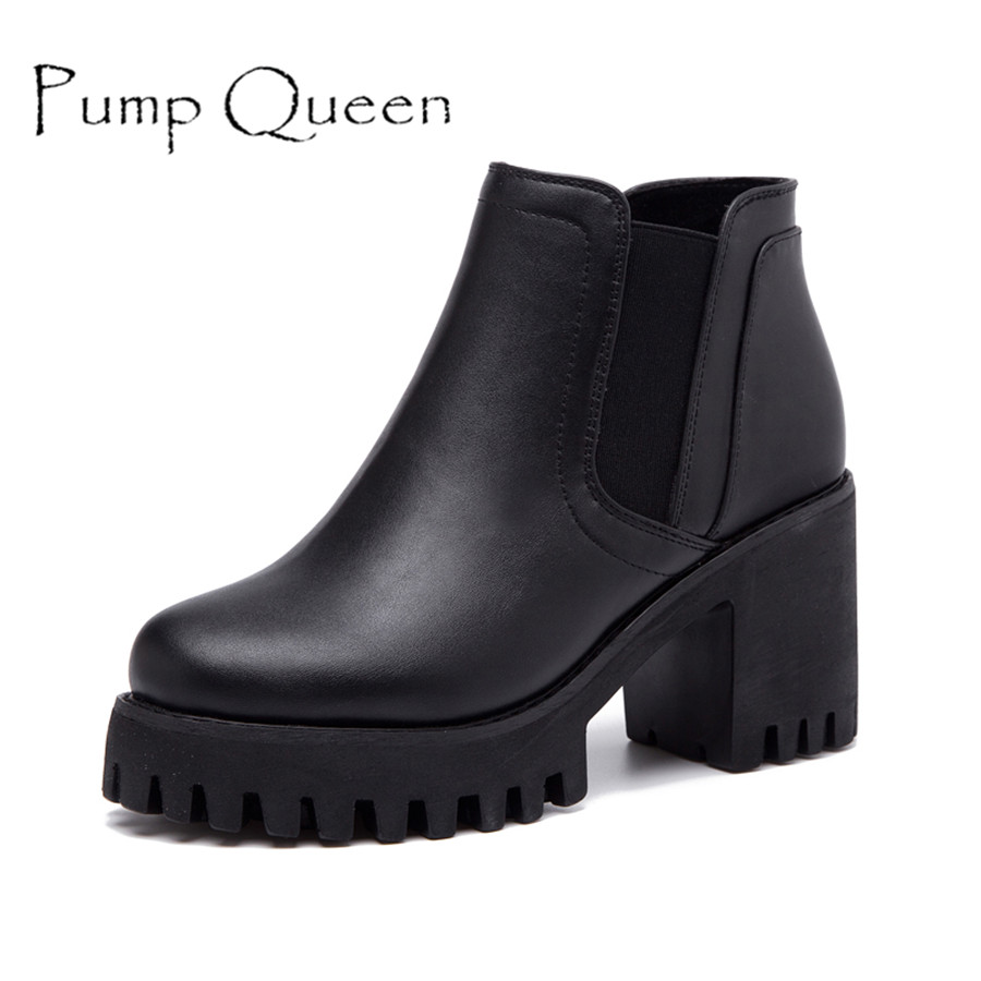 Fashion Ankle Boots For Women Thick High Heels Platform Martin Boot Round Toe Woman Ankle Short Boots Ladies Autumn Shoes Black 4 colors round toe charm high heel genuine leather platform martin ankle boots fashion western high quality short womne boots
