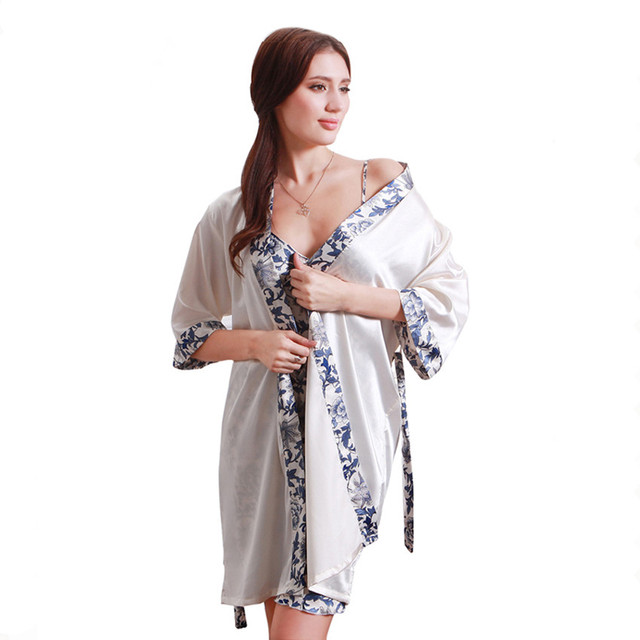 Aliexpress.com : Buy Luxurious Women Robe Gown Set Fashion Faux Silk ...